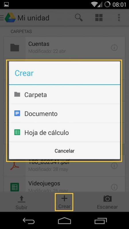 Creación de documentos y carpetas