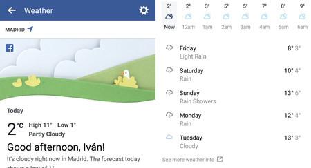 Facebook ahora te dice la previsión meteorológica