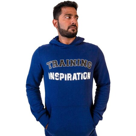 Sudadera Con Capucha Fitness Bolsillo Canguro Azul Con Motivo