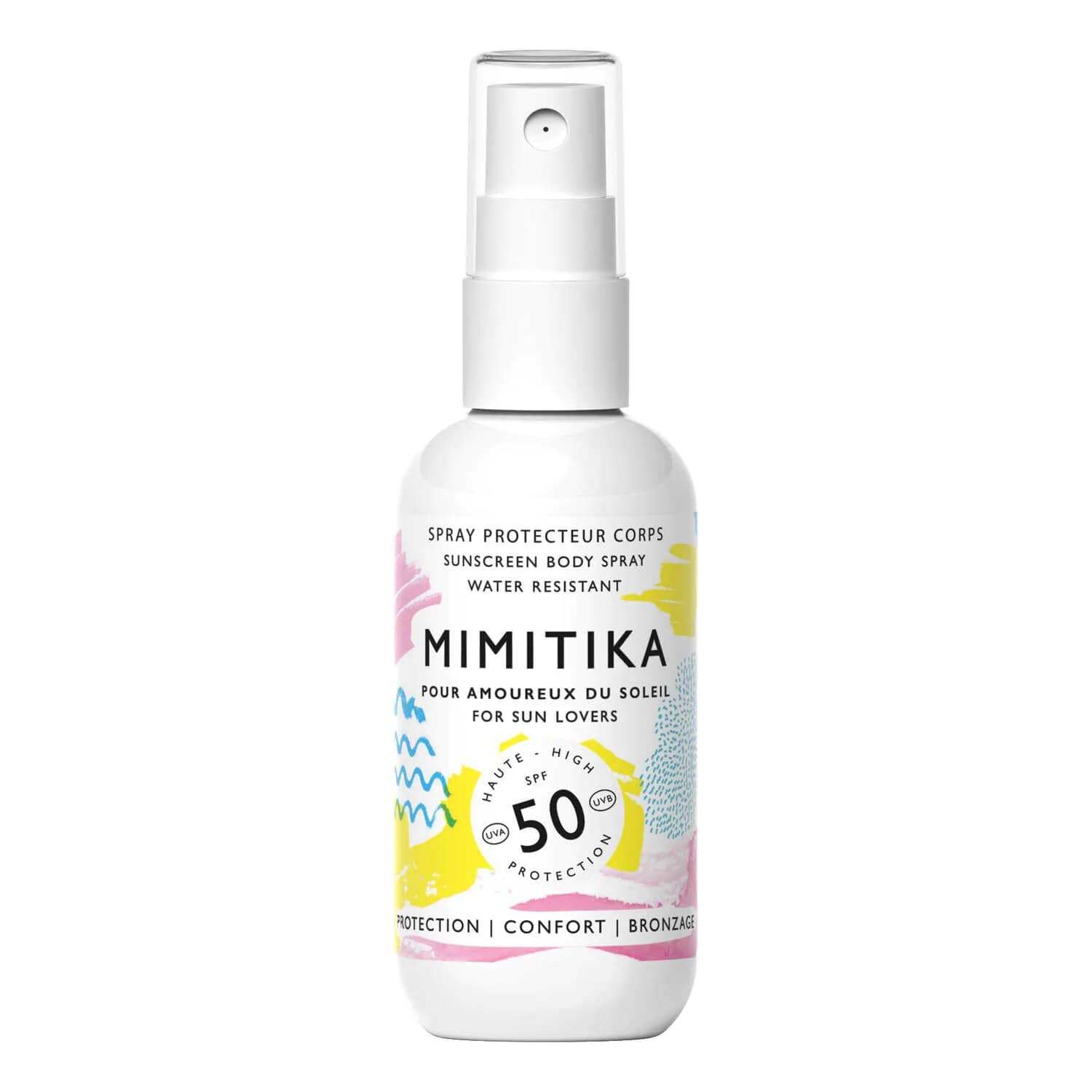 Spray solar SPF 50 en formato mini Mimitika