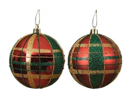 Bolas de Navidad tartán