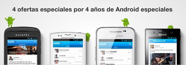 Tuenti celebra el aniversario de Android con rebajas especiales en cuatro terminales