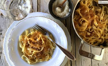Pasta Italiana Con Cebolla Caramelizada