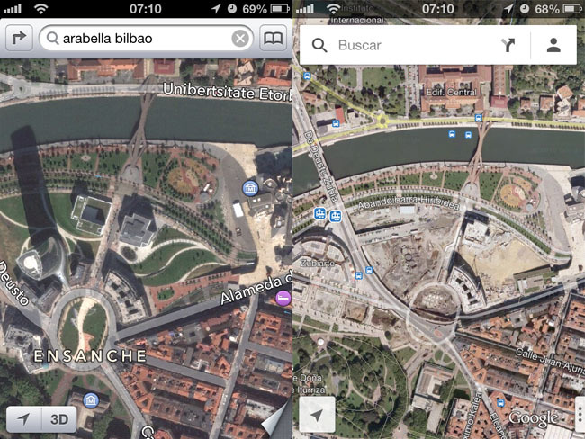 Comparación entre los mapas de Apple y los de Google