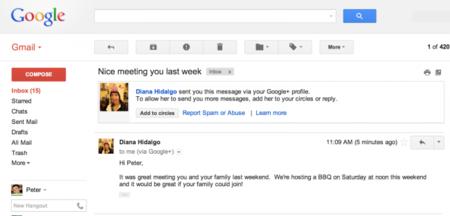 Ya puedes enviar correos a cualquier usuario de Google+... sin necesidad de saber su email