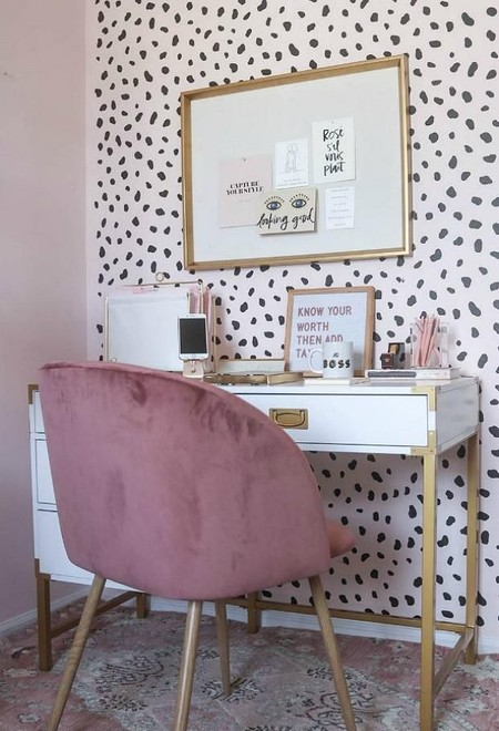Modern Girls Room Desk Home Office Cheetah Pink Wall Stencils C6d41f95 F7ce 43f1 819a 6ac67feadabf