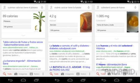 Google Search ya ofrece información nutricional en español