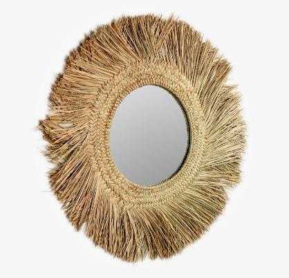 Espejo que con el marco tiene un diámetro de Ø 72 cm. El cristal tiene un diámetro de Ø 30 cm