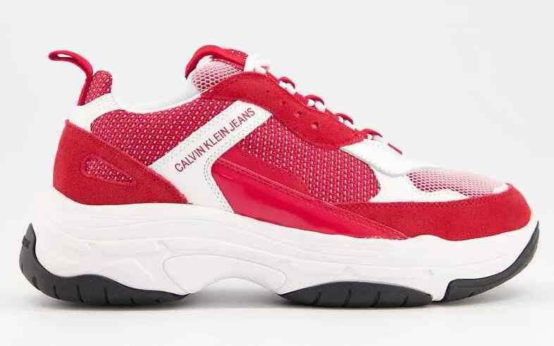 Zapatillas deportivas blancas y rojas con suela gruesa marvin de Calvin Klein Jeans