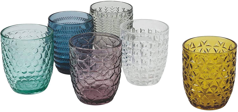 Villa d 'Este Home Tivoli Geometrie Juego 6 Vasos Agua, Multicolor, 6 Unidad