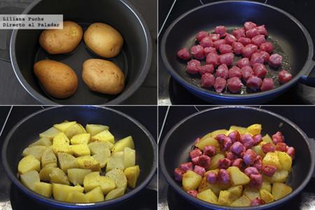 Ensalada de Patata al pesto con Salchichas