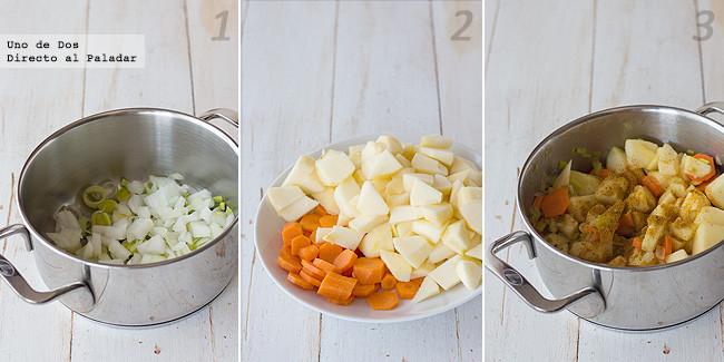 Crema de manzana al curry con zanahoria y naranja. Receta paso a paso