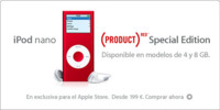 Versión de 8 GB del iPod nano red