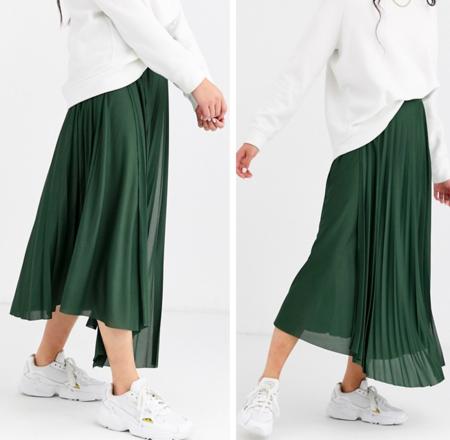 falda plisada verde asos