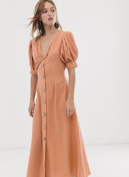 Vestido De Tarde Largo Con Detalle Girado En La Parte Delantera Y Botones En Sirsaca De Asos Design