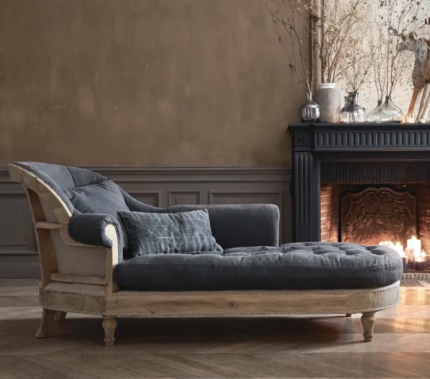 Chaise longue de lino gris carbón de 1 plaza Cyprien