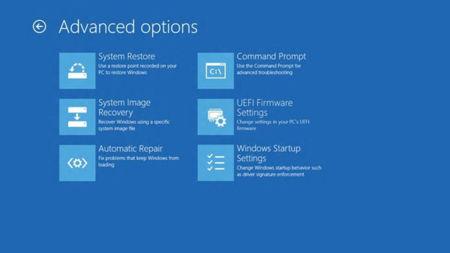 Menú de opciones avanzadas de Windows 8