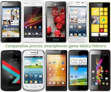 Móviles gratis y comparativa de precios con otros smartphones básicos como Lumia 520, Xperia M, Huawei G526 o LG L5 II en Febrero