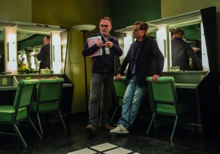 Danny Boyle con Aaron Sorkin durante el rodaje de Steve Jobs
