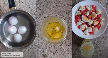 Ensalada de jitomate y huevo con cebollín
