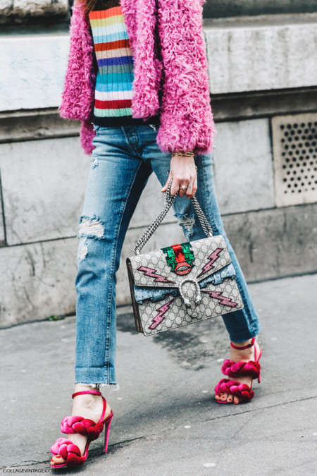 Pfw Paris Fashion Week Fall 2016 Street Style Collage Vintage Chiara Ferragni Pink Sandals Gucci Bag 1
