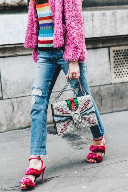 Pfw Paris Fashion Week Fall 2016 Street Style Collage Vintage Chiara Ferragni Pink Sandals Gucci Bag 1