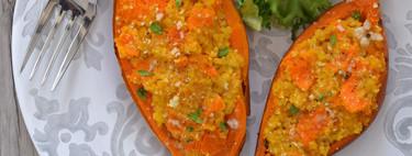 Boniato asado relleno de quinoa y queso: receta vegetariana