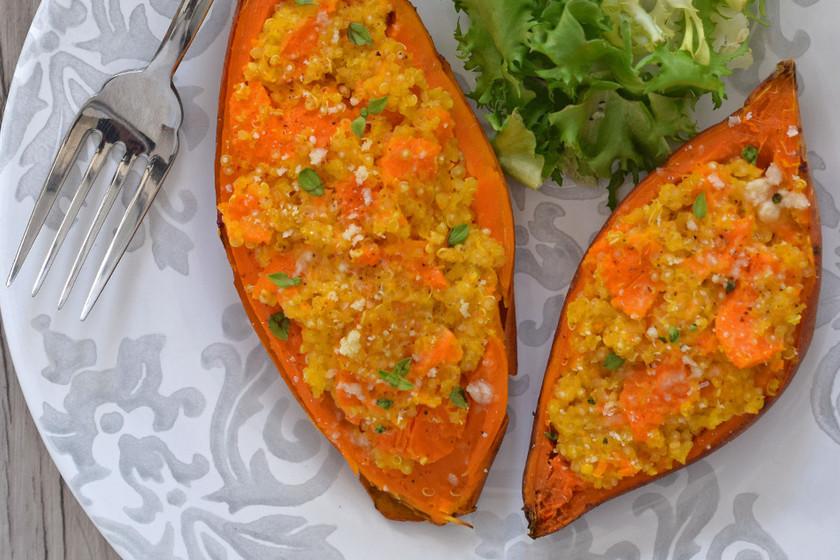 Boniatos Rellenos De Quinoa Y Queso. Receta De Cocina Fácil, Sencilla Y  Deliciosa