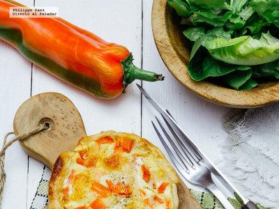 Quiches individuales de pimientos. Receta vegetariana fácil