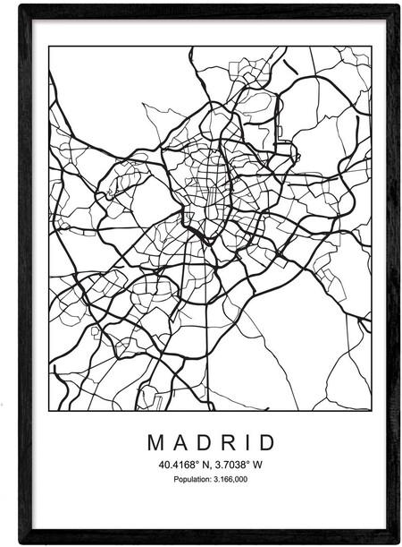 Lámina Mapa de la Ciudad Madrid Estilo nórdico en Blanco y Negro.