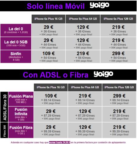 Precios Iphone 6s Plus Con Tarifas Yoigo