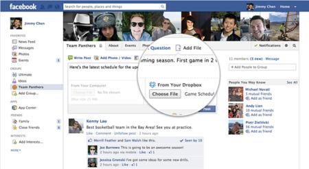 Facebook integra Dropbox para compartir archivos en Grupos