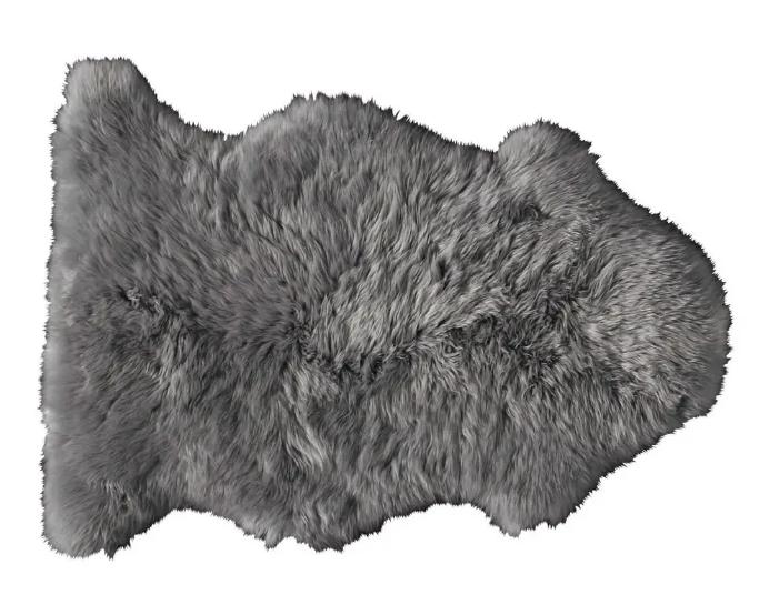 Alfombra gris de piel de oveja 55 × 90 cm