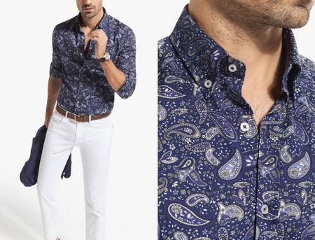 camisa paisley massimo dutti