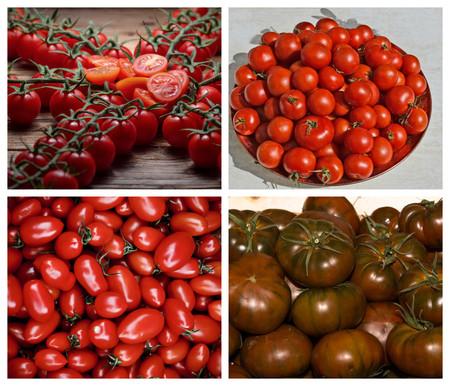 De Izquierda A Derecha Y De Abajo A Arriba Tomate Cherry Tomate Liso Roma Tomate San Marzano Y Tomate Raf