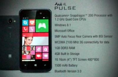 iBall Andi 4L PULSE, un nuevo Windows Phone de gama baja para India
