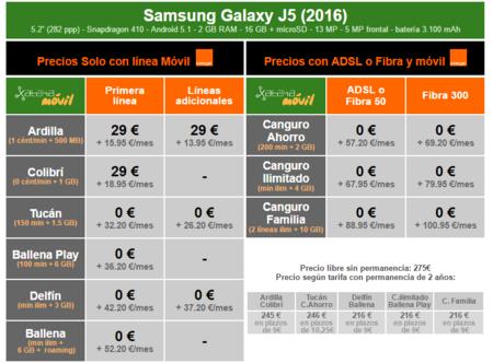 Precios Samsung Galaxy J5 2016 Con Tarifas Orange