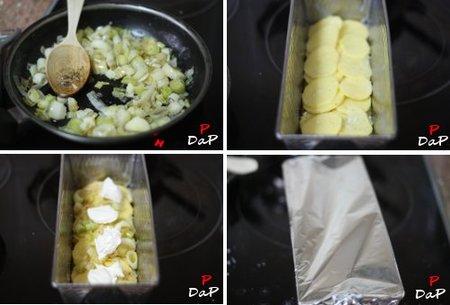 Elaboración de la receta de patata y puerro al horno