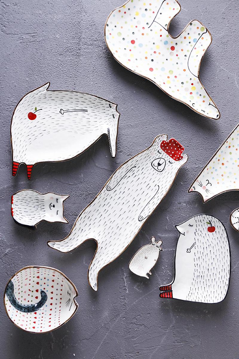 Plato de cerámica creativa para el desayuno plato de carne de res plato de postre lindo de dibujos animados plato de aperitivos de fruta plato de Animal Simple AKUHOME