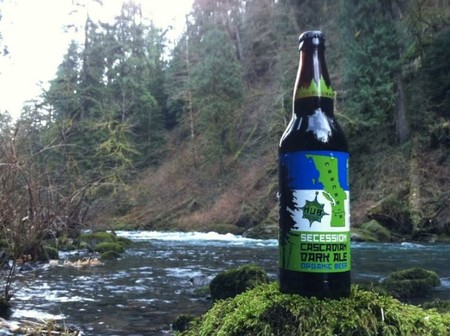 Hub Cascadia Secession Dark Ale Bottle Perched On A Mossy Rock Near Flowing Water