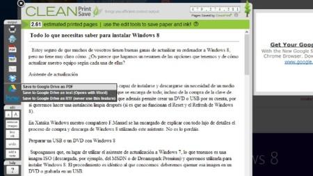 Guarda páginas web en Drive, Box o Dropbox desde Chrome con CleanSave