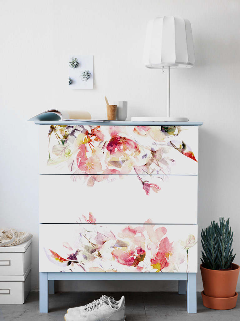 Etiqueta engomada floral para muebles