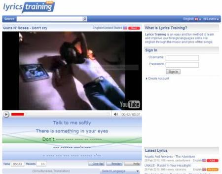 Lyrics Training: practica tu inglés mientras escuchas canciones