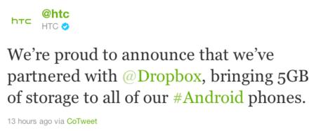 HTC regalará 5 GBs en Dropbox