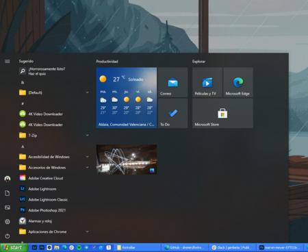 Windows 10 con barra de Windows XP