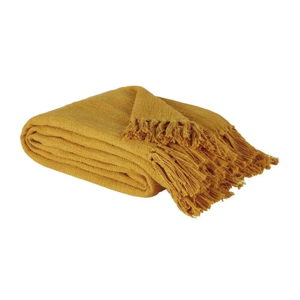 LIMANA.- Manta de algodón amarillo azafrán con flecos 160 x 210 CMS