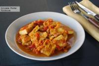 Tofu en salsa de tomate y puerro. Receta saludable