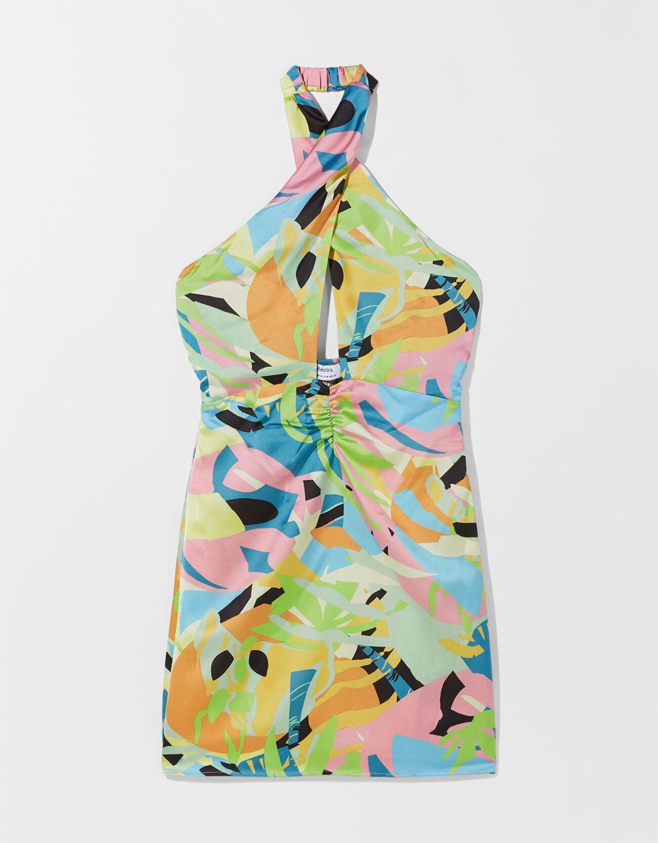 Vestido print cuello halter.