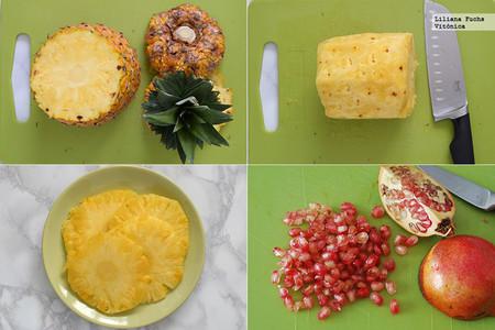Carpaccio de piña con vainilla, coco, lima y granada
