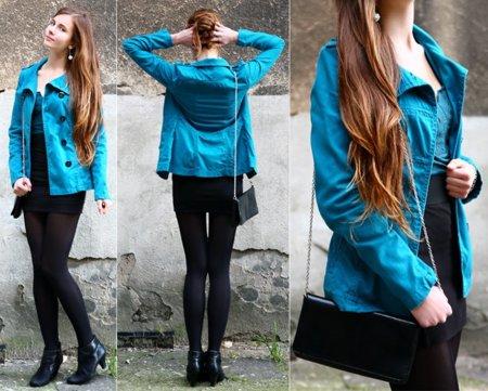 Azul vivo abrigo Moda en la calle